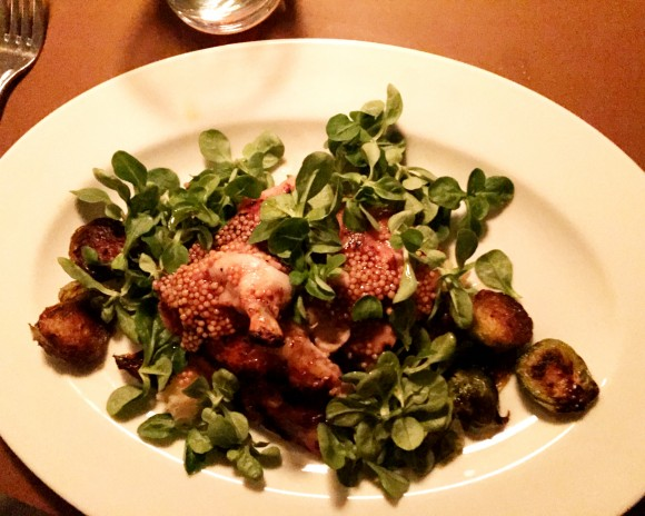 roasted chicken and brussels sprouts with mustard seeds