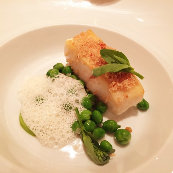 third course - seared striped bass with peas and buttermilk