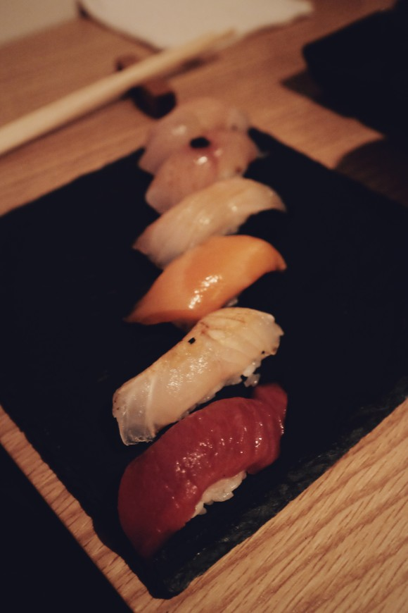 sushi platter - amberjack, branzino, yellowtail, cured salmon, fluke and bluefin tuna