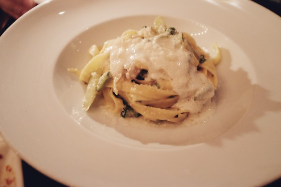 tagliatelle with goat cheese cream, summer vegetables and maitake mushrooms