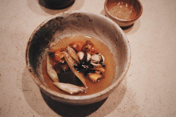 course 7 - buckwheat ramen in a mussel broth with peppers and dragon bean