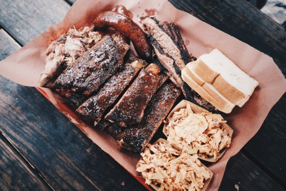 we finally got our food--pork ribs, pulled pork, brisket, sausage and coleslaw