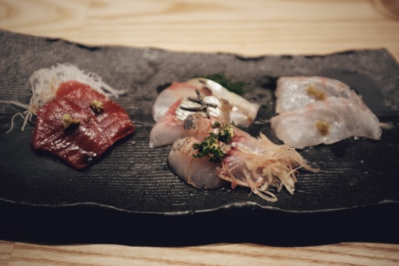 tuna from north carolina, yellow jack mackerel, horse mackerel and red snapper with yuzu pepper