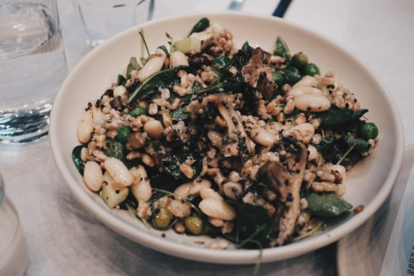 the farro bowl with chickpeas, mushroom, sunflower seeds and peas