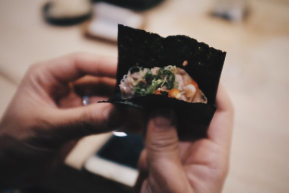 spicy toro two bite hand roll