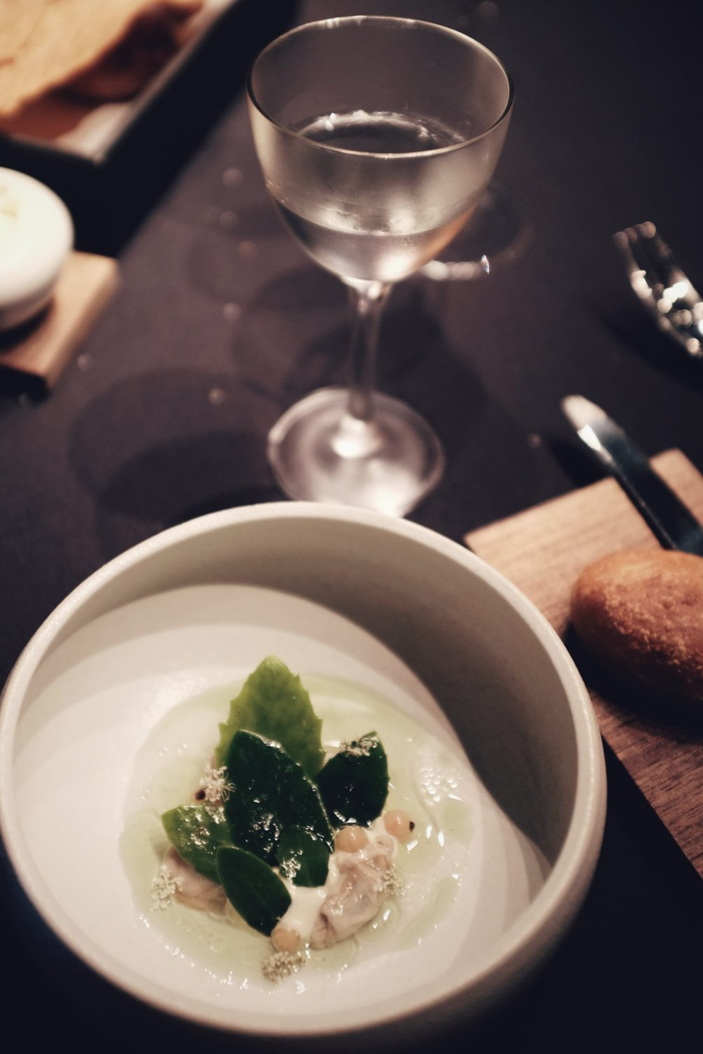 oyster from taunton bay, maine with white currant and juniper