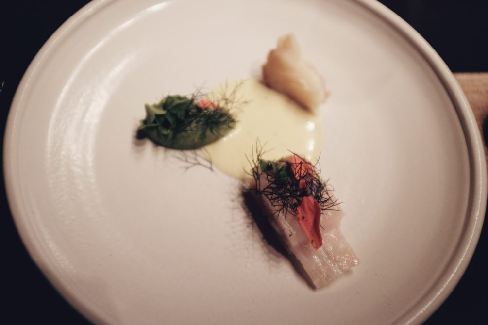 cured skate wing, celery root puree, roasted celery root, unfiltered rapeseed oil and flowering dill