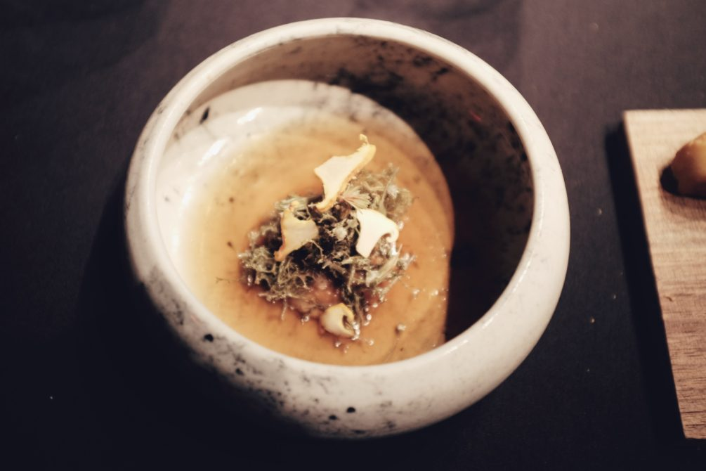 lichen served with chanterelle mushrooms and heavily reduced cream