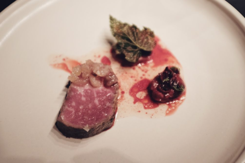 120 day dry aged rib eye, preserved black currant and salted plum from last year, cured beef fat