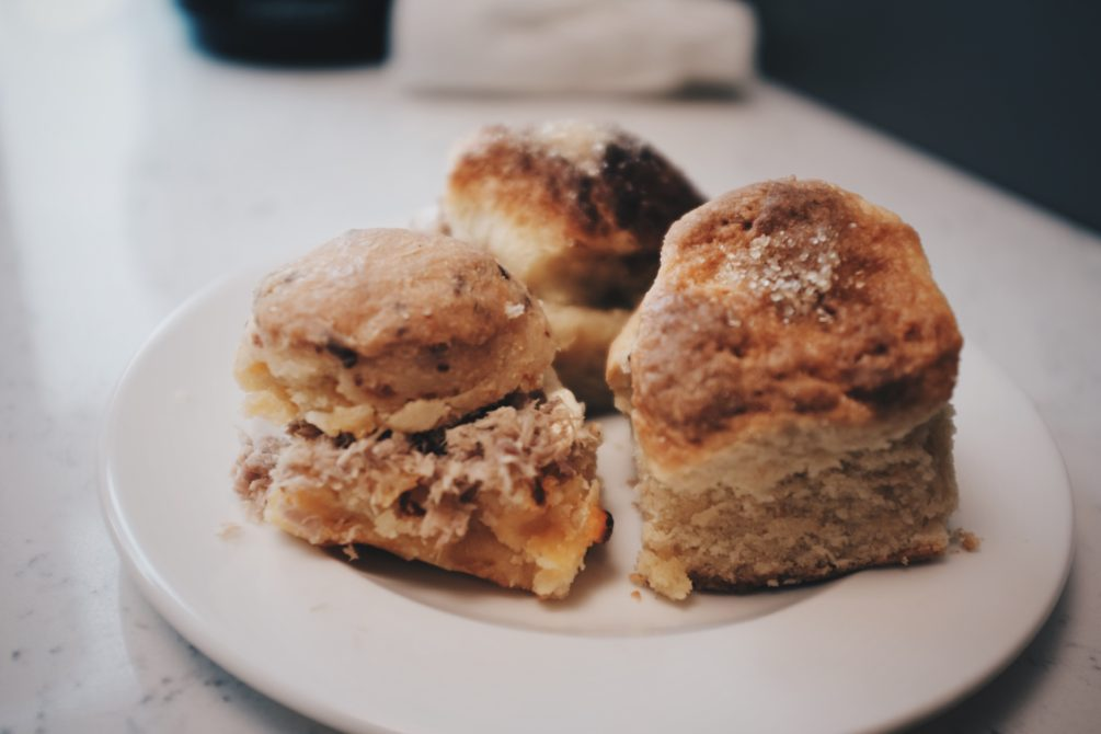 callie's hot little biscuits, three of any kind - country ham, blackberry and cinnamon