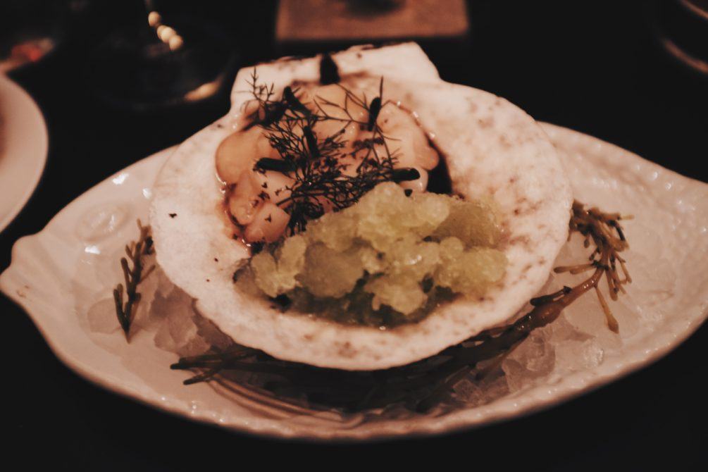 the scallop crudo with black olive and lemon jalapeno ice