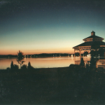 Lakeside Gazebo at Night