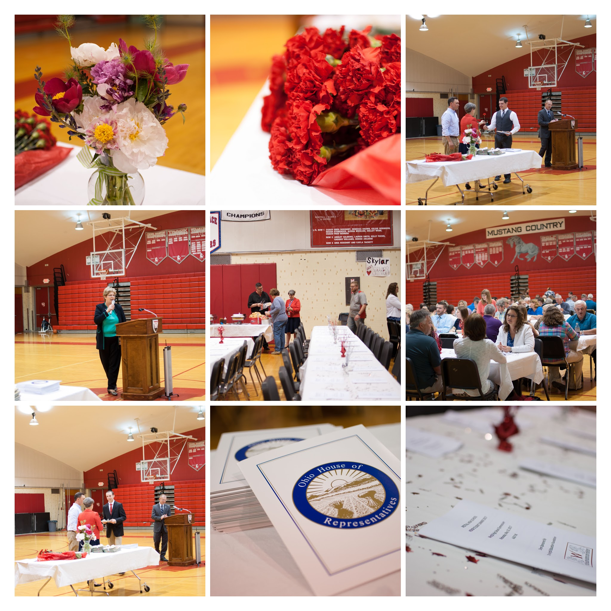 Photos of students and families enjoying dinner and accepting awards.