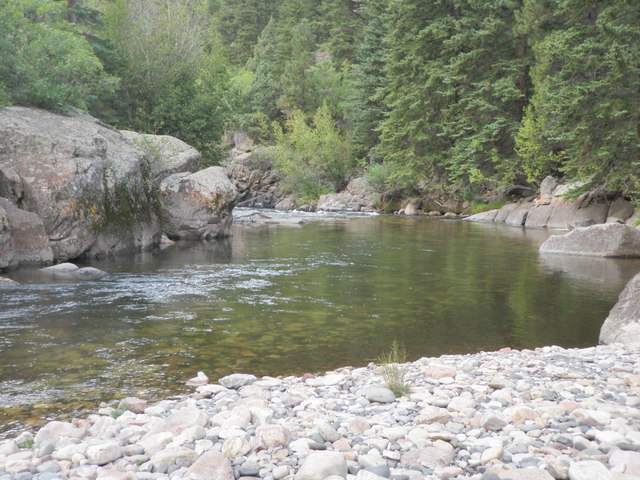 Spotted Three Large Trout Next to Large Rock on Left But Failed to Catch