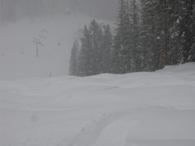 Large Powder Covered Moguls at Bottom of Ripsaw