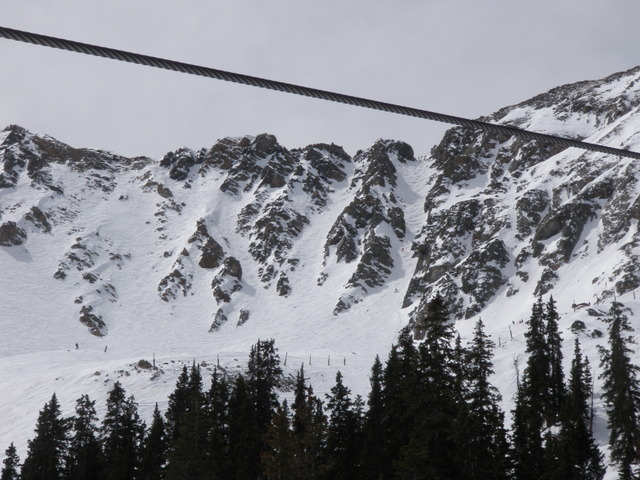 Skiers Appear as Tiny Ants on the First East Wall Chute