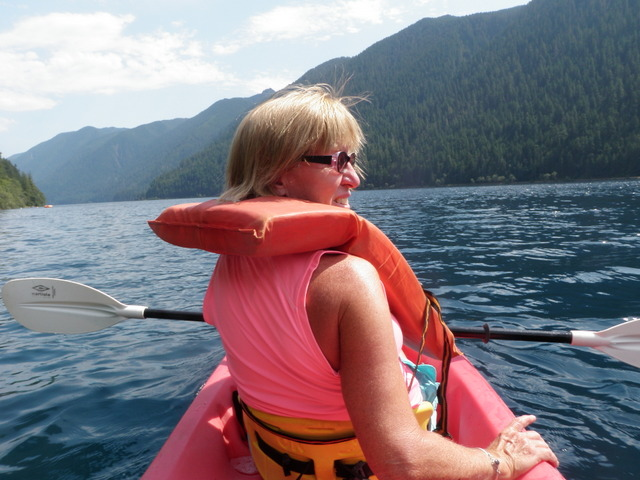 Jane in Front of Two Person Kayak