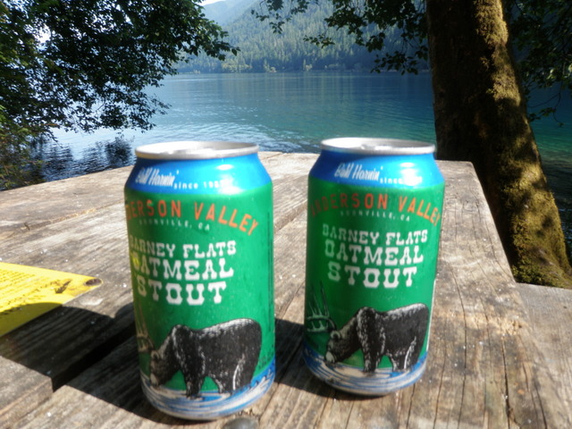 Barney Flats Oatmeal Stouts Ice Cold and Ready to Consume by Lake Crescent