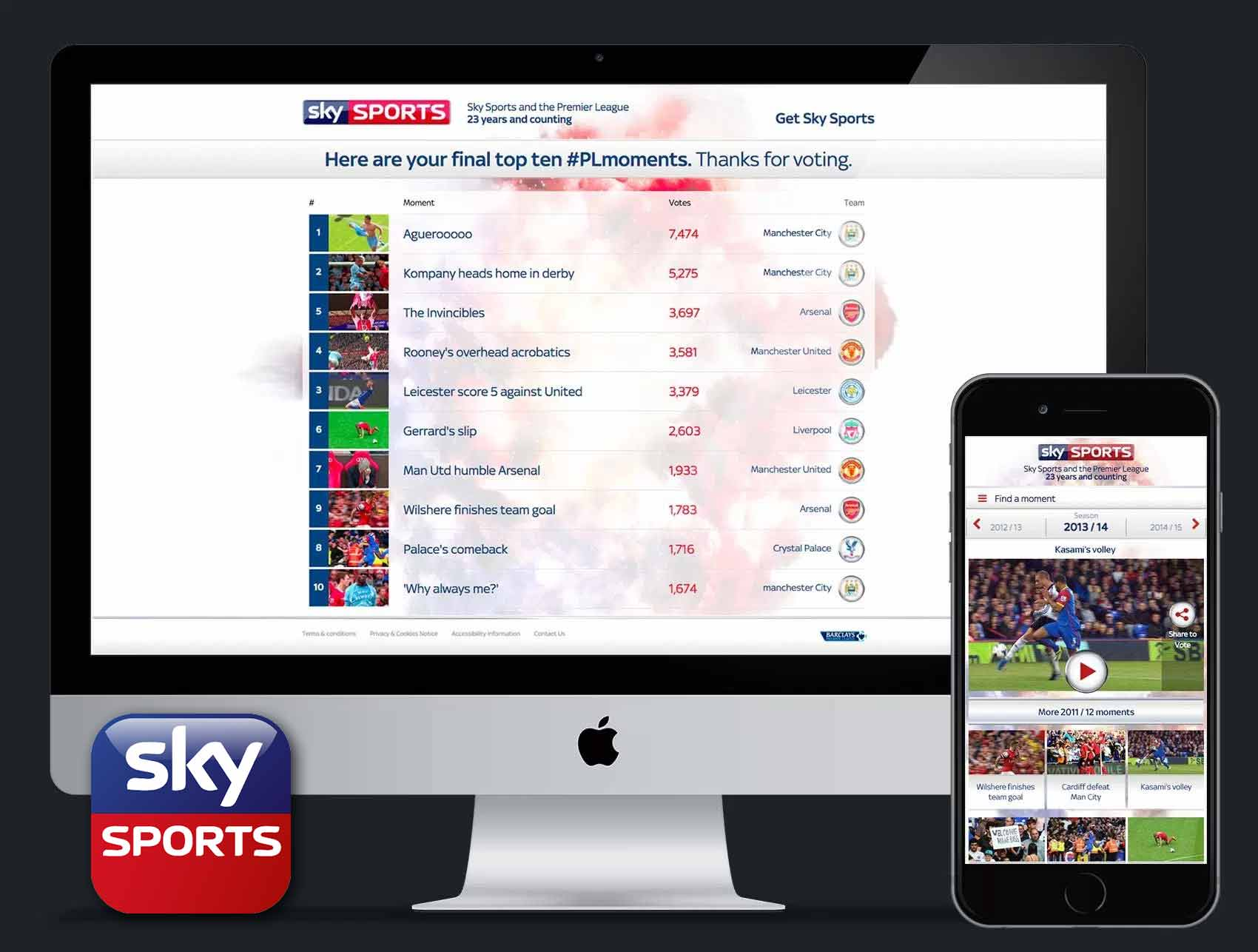 Sky Sports #PLmoments Website
