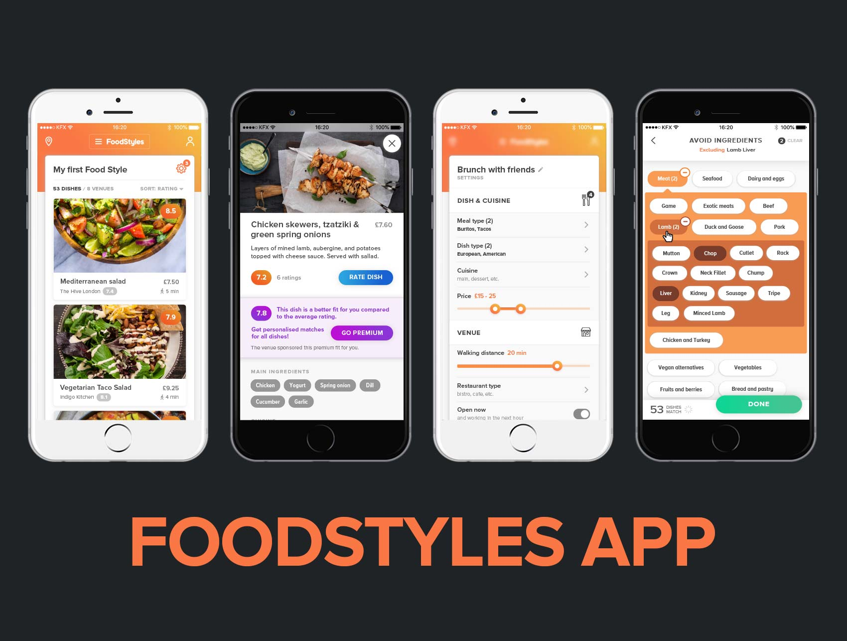 Food Styles App – Lead UX/UI, Interaction Designer