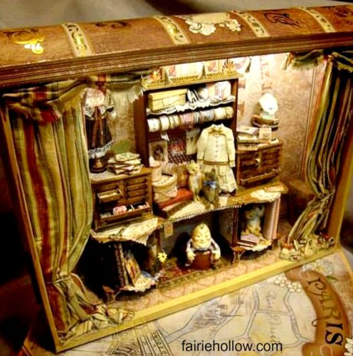 Fairy houses made from books can make a bookcase or library a magical fairy corner|fairiehollow.com