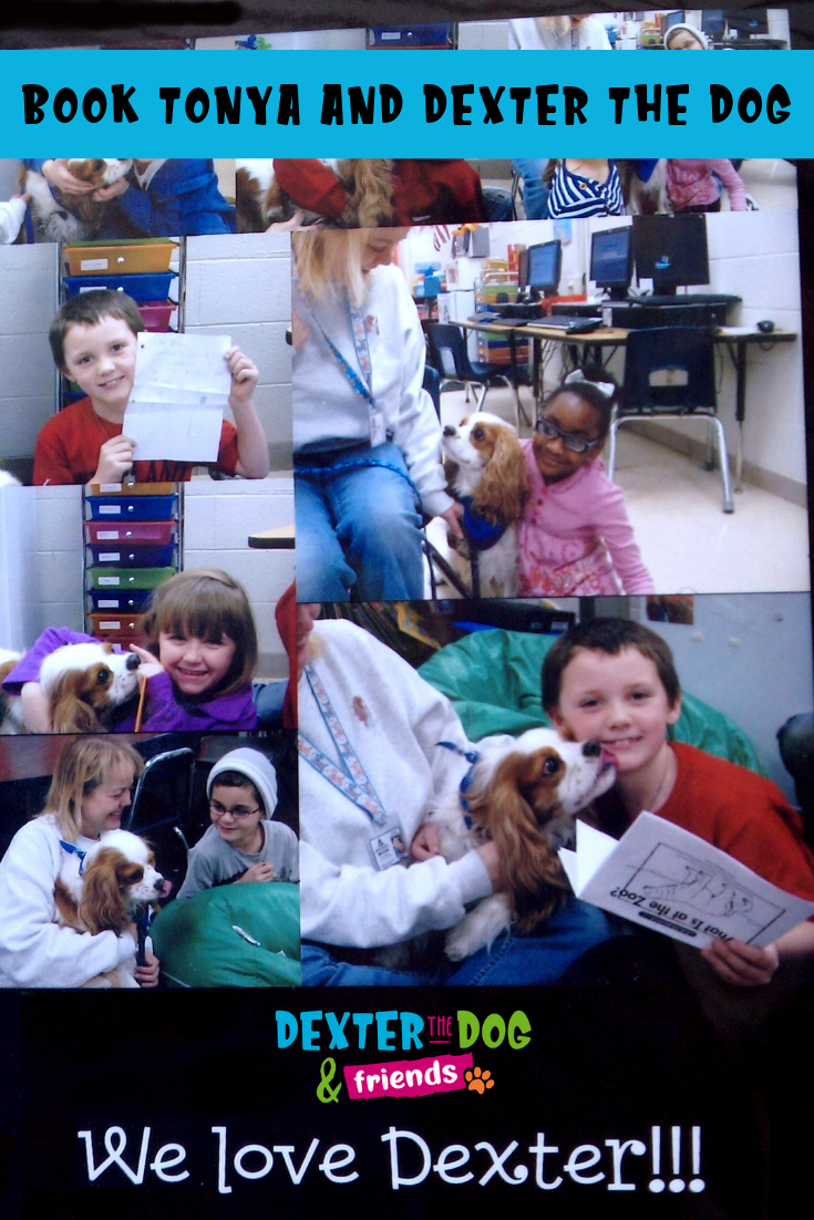 Local children's book authors that offer library and school readings and book signings. Book Tonya Wilhelm and Dexter the Dog for your next school assembly or library function. #dexterthedogandfriends #childrensbookauthors