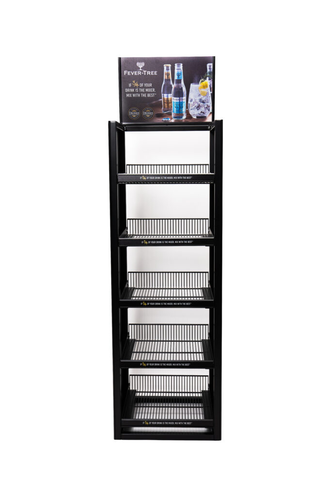 'Fever Tree' branded metal rack display