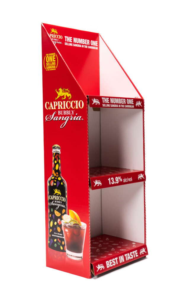 red corrugated display with sangria logo