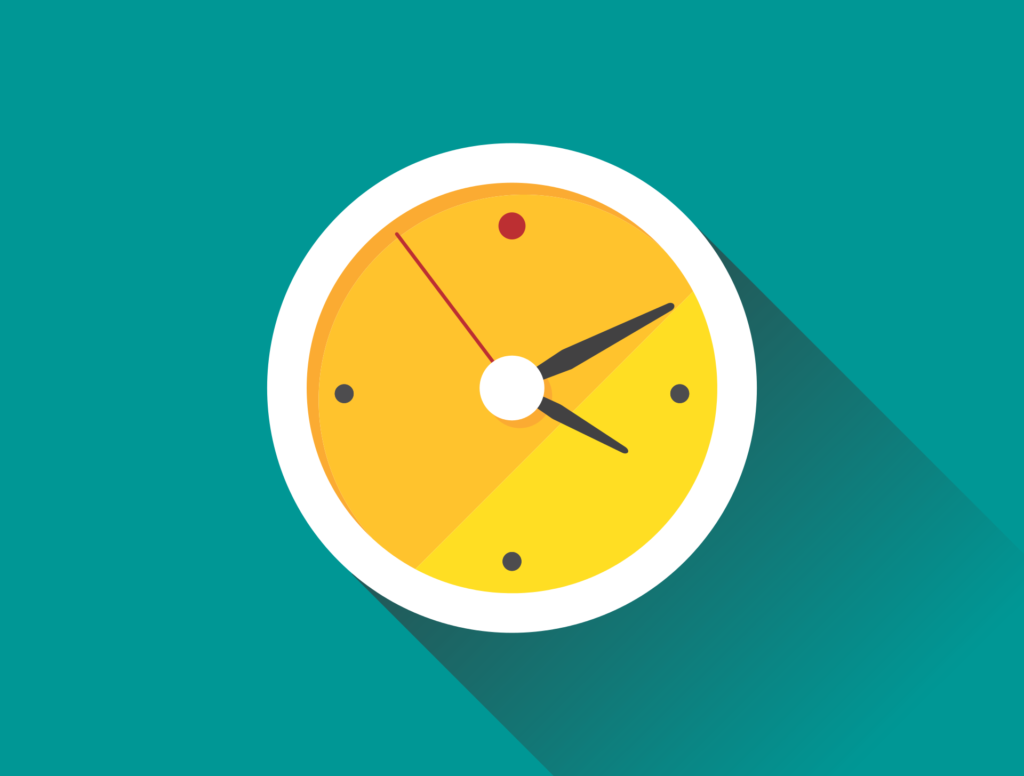 yellow clock on blue background