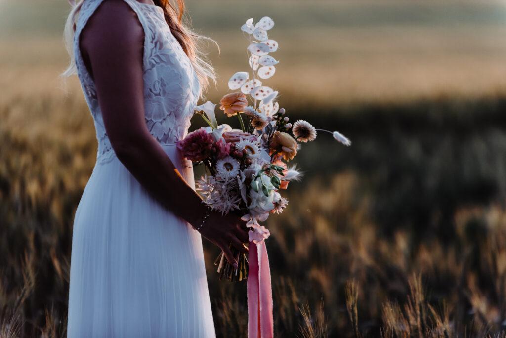 Peach Wedding Inspiration photo shoot on a farm near Calgary, Alberta