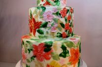 floral buttercream painted shower cake