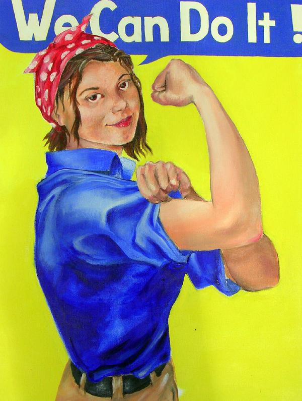 Sara the Riveter oil portrait