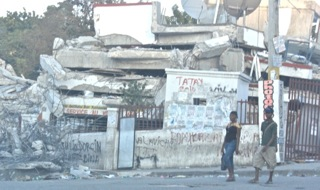A pancaked building in Port-au-Prince