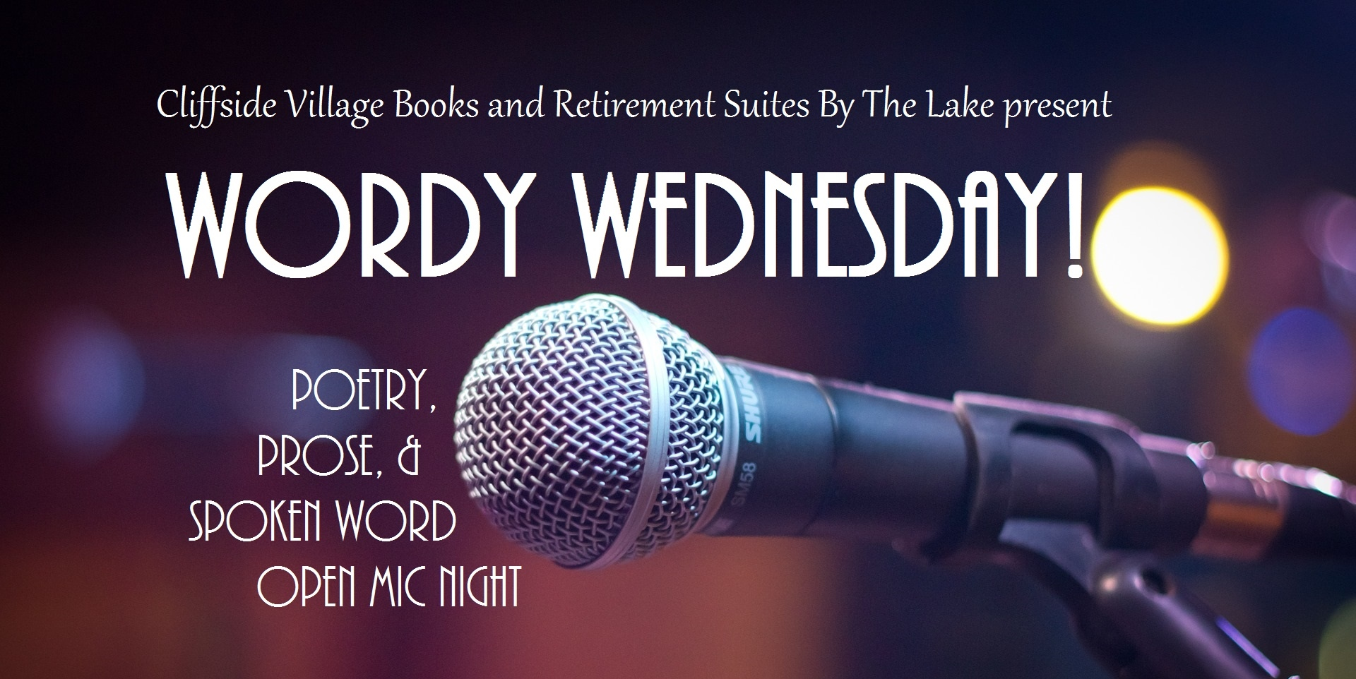 A poetry, prose, and spoken word open mic night