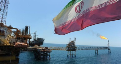 Iranian oil rigs off the coast of the Persian Gulf