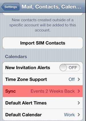 iPhone - Mail, Contacts, Calendar - Sync Events 2 Weeks Back