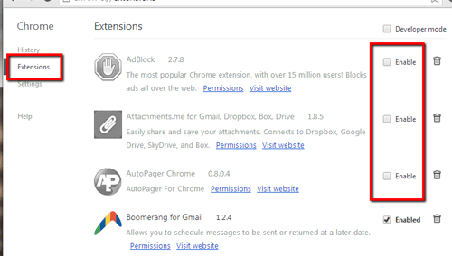 Chrome disable Extensions
