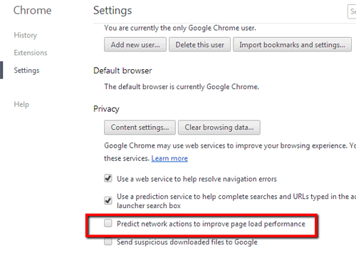 Chrome: Disable Predict network actions to improve page load performance