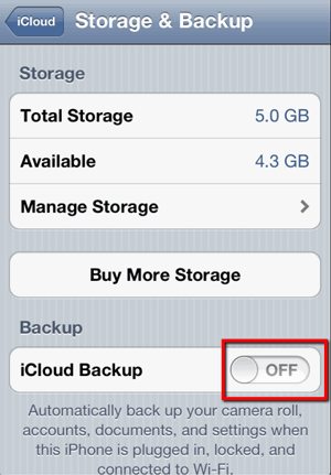 Disable iCloud Backup on iPhone/iPad