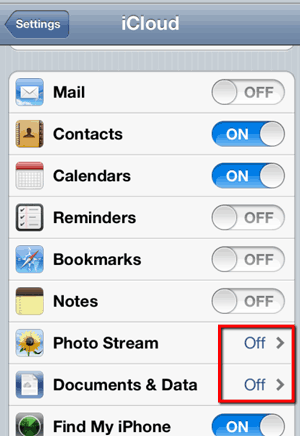 iCloud settings - disable Photo Stream and Document & Data