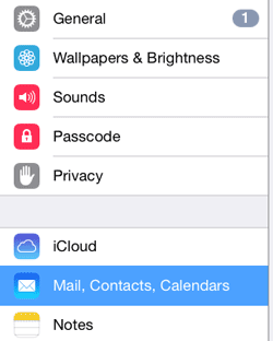 iPhone Setting: Select Mail, Contacts, Calendars