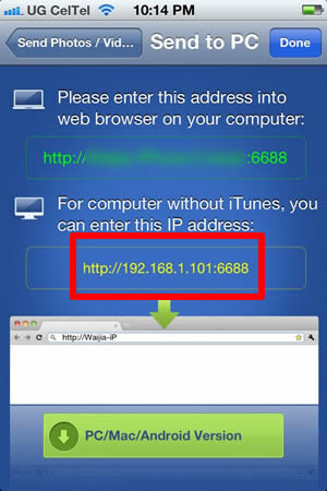 Transfer pictures from iPhone to PC through Wifi Enter IP Address