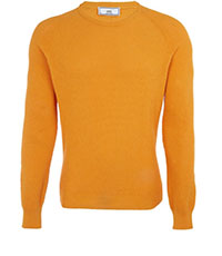 AMI YELLOW BASKET WEAVE COTTON JUMPER