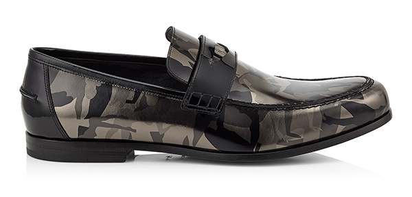 Darblay Black and Gunmetal Camouflage Mirror Leather Loafers
