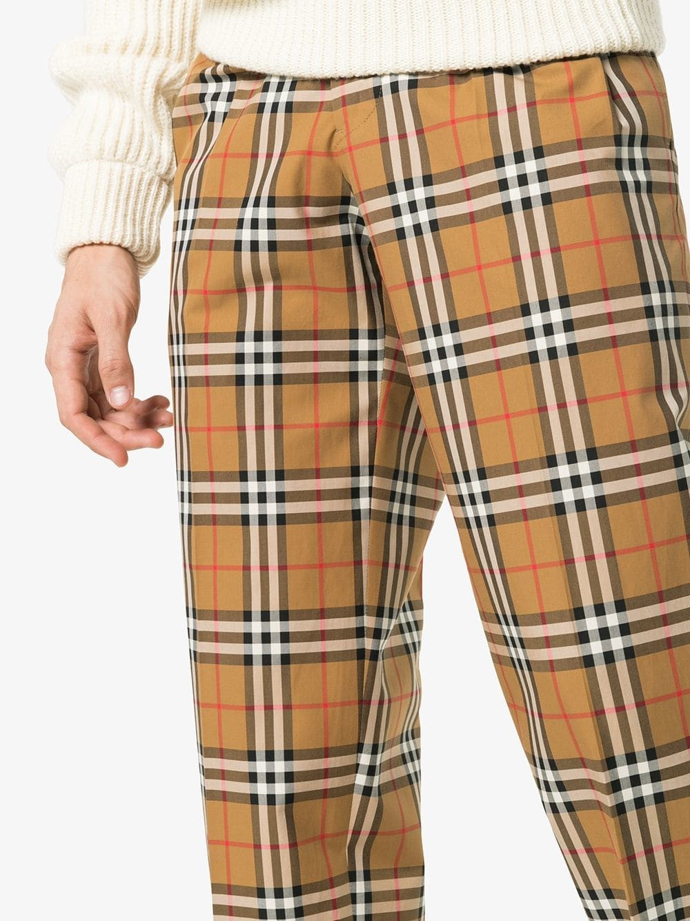 Penn Badgley style Burberry classic check print tailored cotton trousers