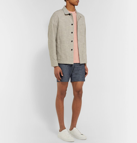 Mr P Summer Collection Slim-Fit Selvedge Cotton-Chambray Shorts