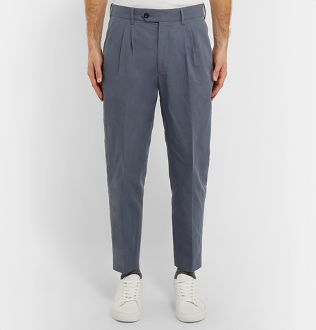 Mr P Summer Collection Tapered Pleated Linen And Cotton-Blend Cropped Suit Trousers