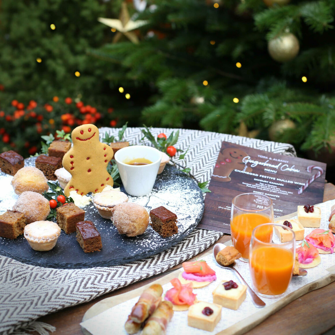 Gingerbread Cabin at York & Albany The perfect Christmas Pop-up with Gordon Ramsay Restaurants Canapes
