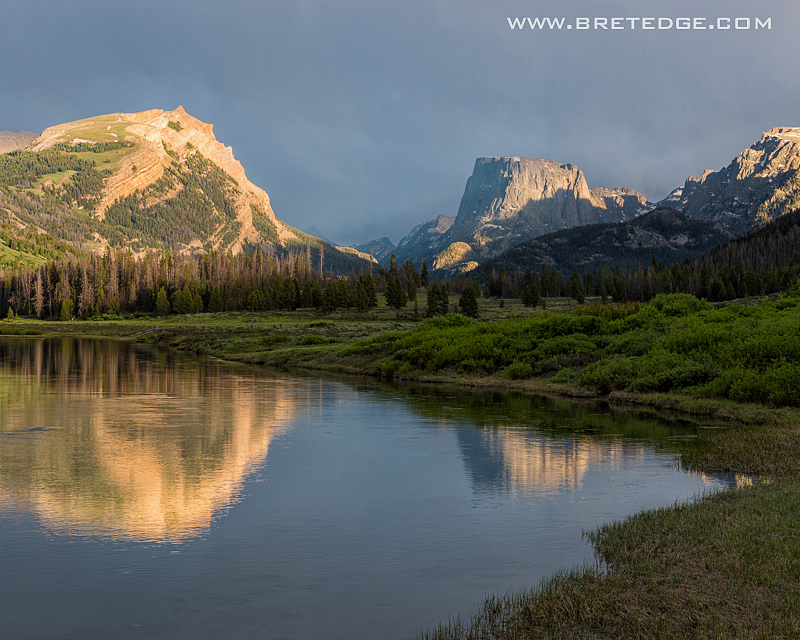 Squaretop Mountain Reflecting in Green River at Sunset, Wyoming