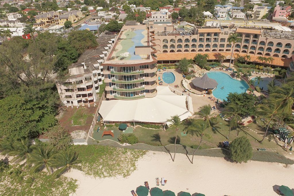 Arial shot of canvas canopy for hotel on the south coast of barbados